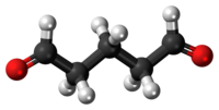 Ball-and-stick model of the glutaraldehyde molecule