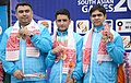 Gold Medallist of India Gagan Narang, Chain Singh and Hasan Imran Khan in the 10m Air Rifle Men's Team event of Shooting, at the 12th South Asian Games-2016, in Guwahati on February 12, 2016.jpg