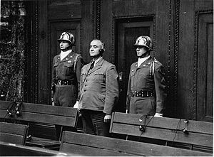 SS Main Office - Gottlob Berger in the dock at the Nuremberg Trials in 1949.
