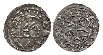 Dirk VII, Count of Holland - Holland, silver penny or 'kopje', with bust of Dirk VII