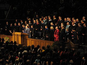 David A. Bednar - Bednar at the April 2008 BYU graduation ceremony