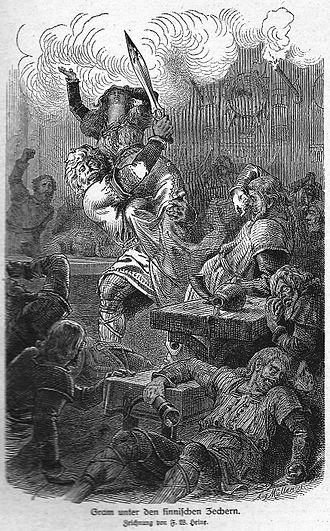 Sumble (Finnish king) - Image: Gram unter den finnischen Zechern (Heine)