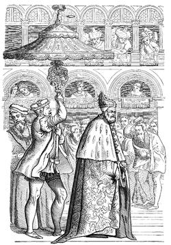 Incisione del XVI secolo: Doge in processione a Venezia