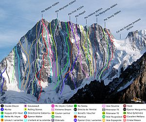 Walter Bonatti - North Face of the Grandes Jorasses. The Walker Spur, climbed by Bonatti in 1949, is number 9.