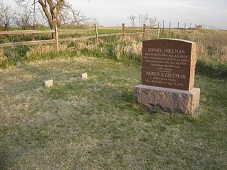 Daniel Freeman - The grave of Daniel and Agnes Freeman at the Homestead National Monument of America.