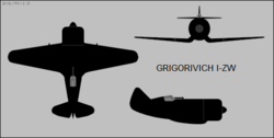 Grigorovich I-ZW three-view silhouette.png