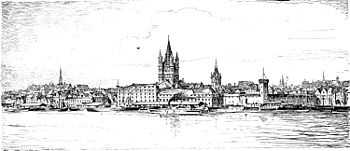 View over the Rhein to Groß St. Martin, Cologne