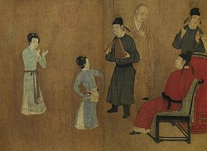 History of dance - Details from a copy of a 10th-century painting Night Revels of Han Xizai by Gu Hongzhong, depicting a dancer performing a dance known in the Tang dynasty.