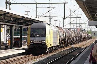 Angermünde–Stralsund railway - A freight train at Greifswald station in 2012