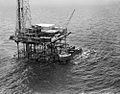 Gulf Oil Corp., Gulf Service Boat and Fixed Platform Rig (8222024652).jpg