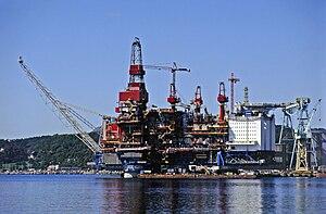 Gullfaks oil field - Gullfaks A being completed near Haugesund