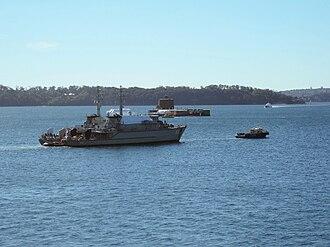 HMAS Hawkesbury (M 83) - Image: HMAS Hawkesbury Norman under tow