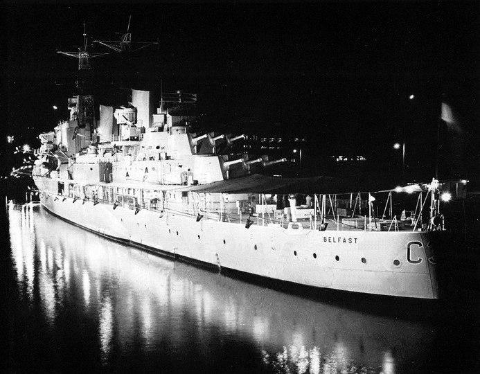 HMS Belfast (C35) at Pearl Harbor in 1962