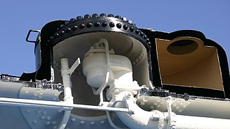 Steam dome - Cutaway section of a steam dome, showing the regulator inside