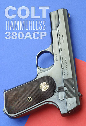 Blowback (firearms) - The .380 ACP Colt Model 1903 Pocket Hammerless uses simple blowback. The mass of the slide is enough to delay opening of the chamber until pressure has dropped.