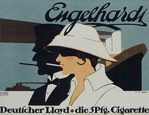 Tobacco advertising - German cigarette ad by Hans Rudi Erdt (1915)