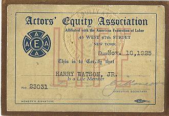 Harry Watson Jr. - Harry Watson Jr. Actors Equity Association Card