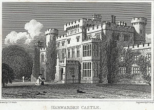 Hawarden Castle (18th century) - 1830 engraving by H. W. Bond, fl. 1827–1849.