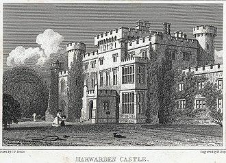 Hawarden Castle (18th century) - 1830 engraving by H. W. Bond, fl. 1827–1849.