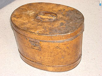 Hat box - Hat boxes may be made of a variety of materials, including metal