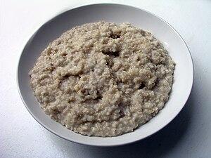 Oatmeal (here: oat,water,salt). Danish: havregrød