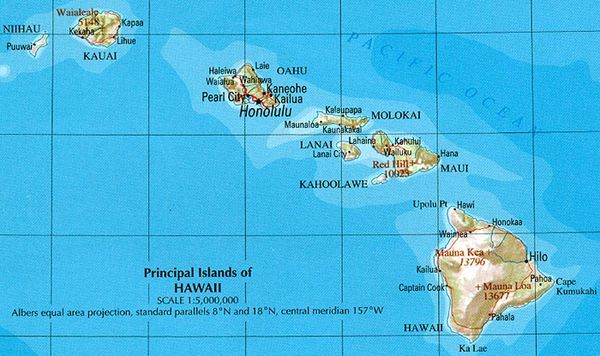 Map of Hawaii with cities