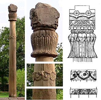 Shunga Empire - The Heliodorus pillar was built in Vidisha under the Shungas, at the instigation of Heliodorus, ambassador of the Indo-Greek king Antialcidas. The pillar originally supported a statue of Garuda. Established circa 100 BCE.