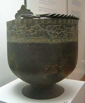 Late Roman brass bucket - the Hemmoorer Eimer from Warstade, Germany, second to third century AD Hemmoorer Eimer.jpg