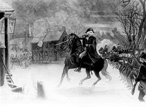 Washington at the Battle of Trenton. An engrav...