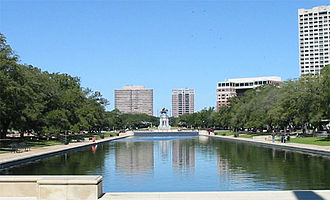 Hermann Park - A view of the reflecting pool and Sam Houston statue in Hermann Park.