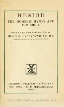 Hesiod, The Homeric Hymns, and Homerica.djvu