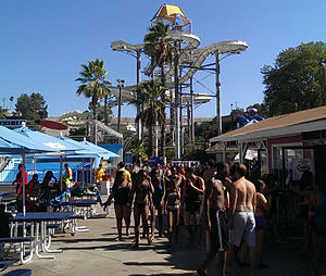 Raging Waters - High Extreme at Raging Waters San Dimas, with dining area visible in foreground