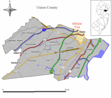 Map of Hillside Township in Union County. Inset: Location of Union County highlighted in the State of New Jersey.