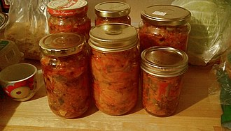 Ajvar - Ajvar and other pickles in a home larder