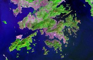 Satellite Image of Hong Kong. Urban areas are ...