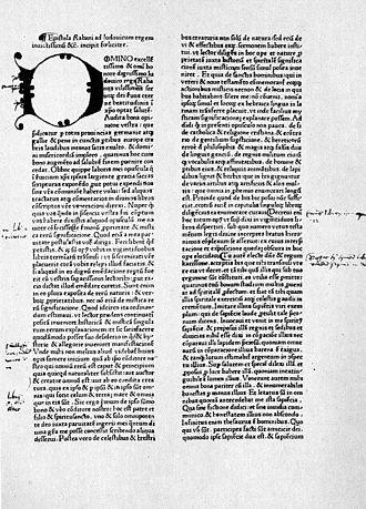 Rabanus Maurus - Page from Rabanus' De rerum naturis.
