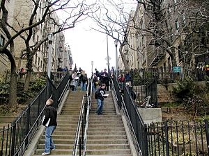Hudson Heights, Manhattan - Stairs running from the end of Pinehurst Avenue down to West 181st Street