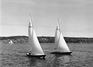 5 Metre - Two 5 Metres in 1940: the left yacht is Hazard designed by Knud Reimers and the right one is Maribell by Tore Holm.