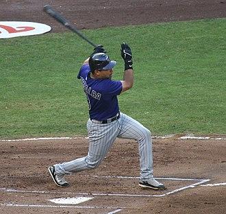 Yorvit Torrealba - Torrealba batting for the Colorado Rockies in 2007