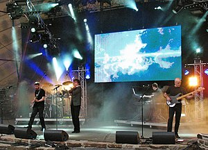 IQ (band) - IQ at the Night of the Prog Festival, 9 July 2011.  L-R: Mike Holmes, Paul Cook (hidden), Peter Nicholls, Neil Durant, and Tim Esau.