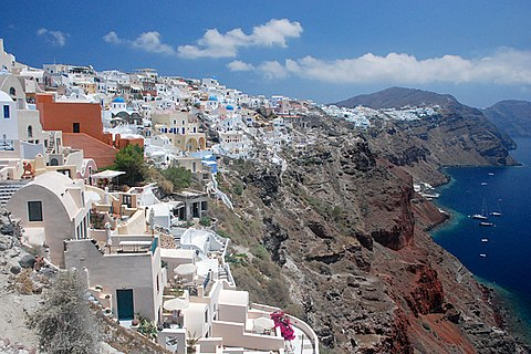 Santorini, a popular tourist destination, is ranked as the world's top island in many travel magazines and sites Ia Santorini-2009-1.JPG