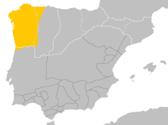 Spoken area of Galician-Portuguese (also known as Old Portuguese or Medieval Galician) in the kingdoms of Galicia and Leon around the 10th century, before the separation of Galician and Portuguese Idioma galaicoportugues.png