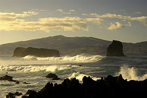 Pico Island - The two islets at the entrance to Madalena harbor, formed from a submerged crater