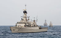 Indonesian corvette KRI John Lie (358) at sea in August 2015.JPG