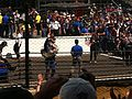 Indy 500 winner Alexander Rossi waving to crowd, Indianapolis Motor Speedway, May 2016.jpg