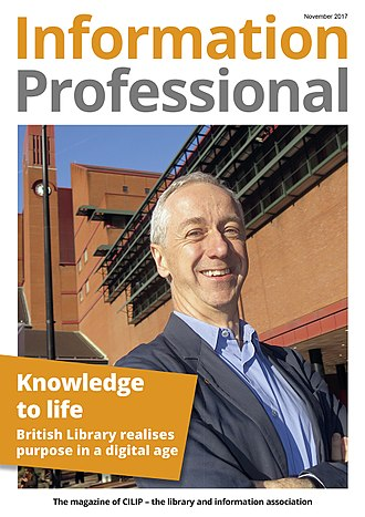 Chartered Institute of Library and Information Professionals - The cover of the first issue of Information Professional magazine (November 2017) showing Roly Keating of the British Library
