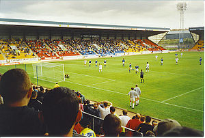 McDiarmid Park - St Johnstone hosting Aberdeen at McDiarmid Park in 2001. View is from the North Stand.