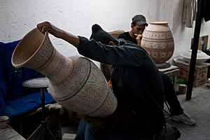 Culture of Morocco - Inside a ceramics workshop in the city of Fes.