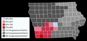 David Young (Iowa politician) - Map showing the results of the 2016 election in Iowa's Third congressional district by County