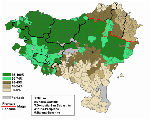 Percentage of students registered in Basque language schools (2000-2005). Irakatsia.png